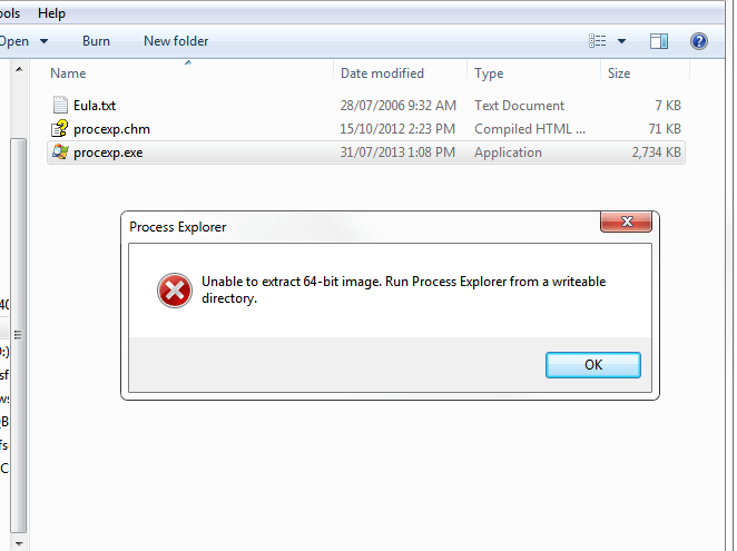 Process Explorer error screenshot
