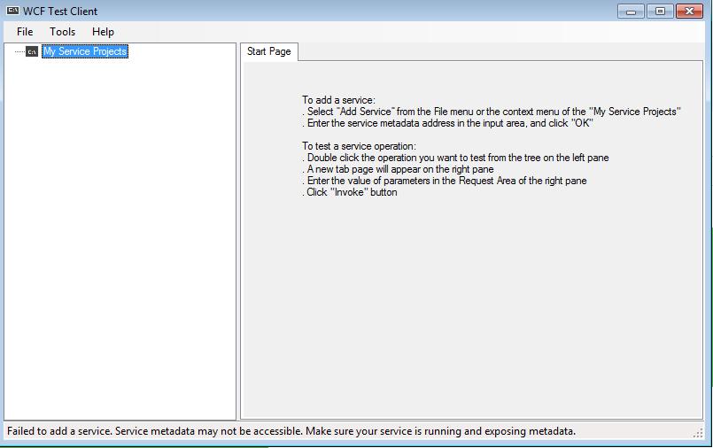 WCF Test Client Screenshot