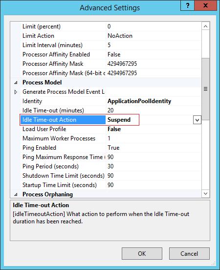 IIS Application Pool Settings Screenshot