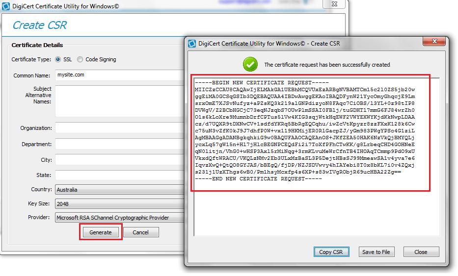 DigiCert Certificate Utility Screenshot