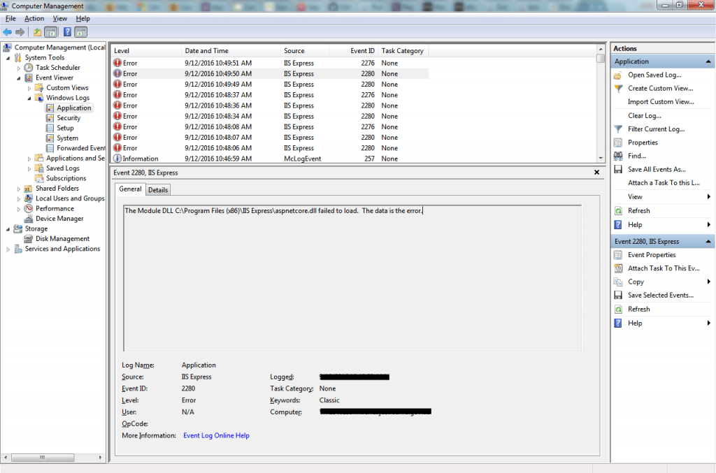Windows Event Viewer Screenshot