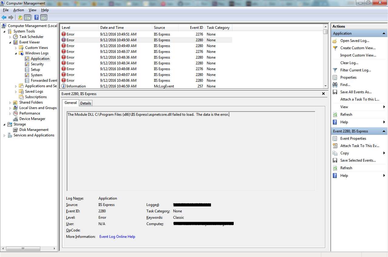 Aspnetcore dll failed to load