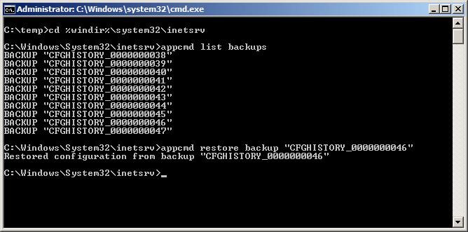 Restore IIS Configuration