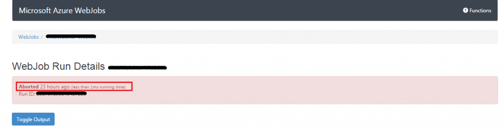 Azure WebJob Aborted Error