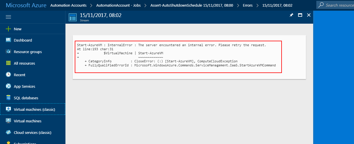 Azure Portal Internal Error Screenshot