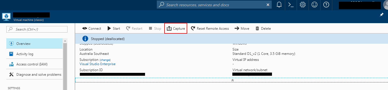 Azure Portal Capture VM Screenshot