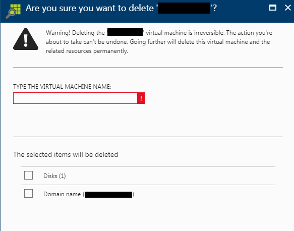 Delete VM Screenshot