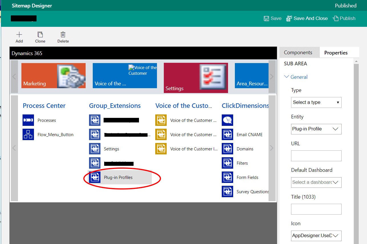 CRM Sitemap Screenshot
