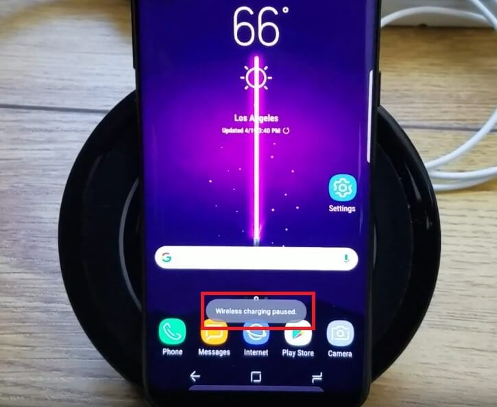 Samsung Wireless Fast Charging Paused Screenshot