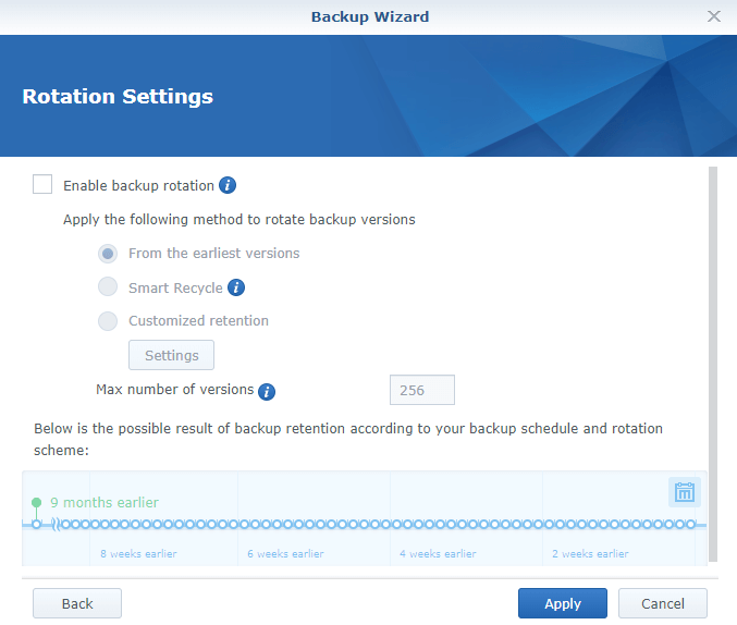 Screenshot of Synology HyperBackup