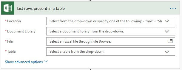 Microsoft Flow Excel
