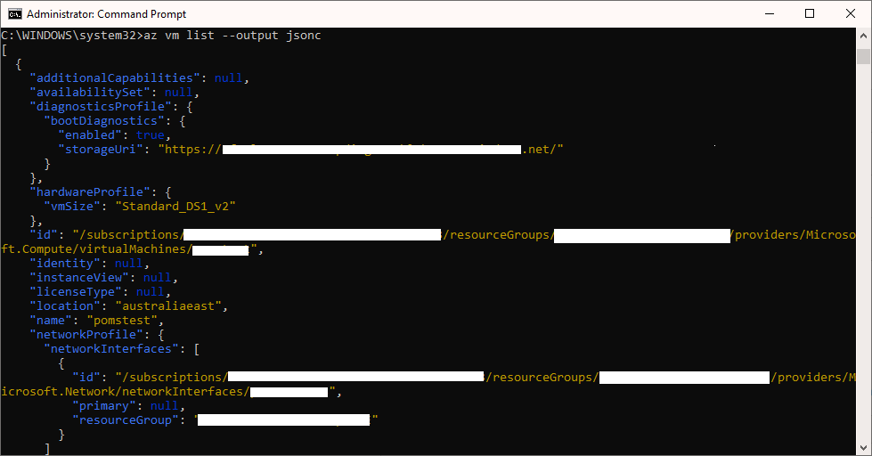 Azure CLI JSONC Screenshot