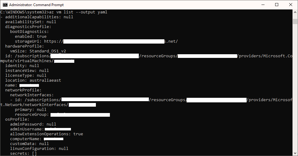 Azure CLI YAML Screenshot