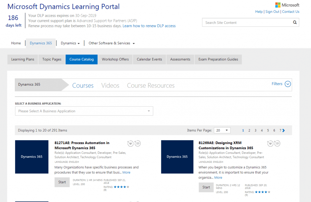 Dynamics Learning Portal Screenshot