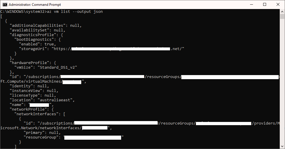Azure CLI JSON Screenshot