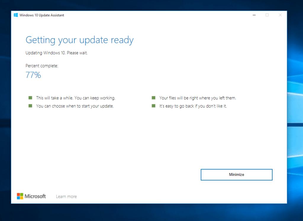 Windows 10 Update Assistant Screenshot