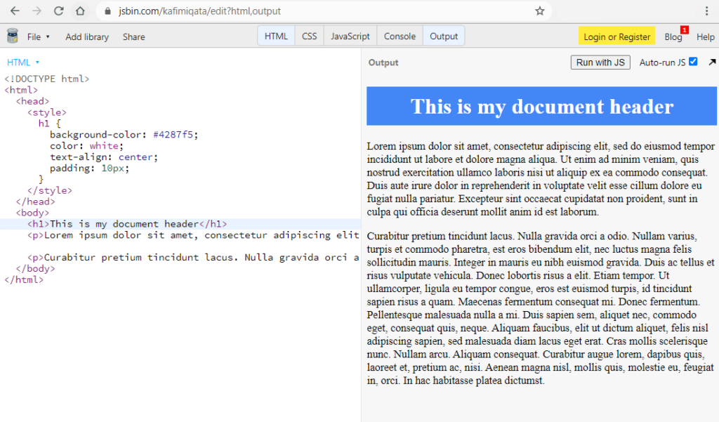 JSBin.com Screenshot